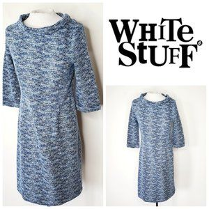 WHITE STUFF Marled Blue Jackie O. Retro Dress